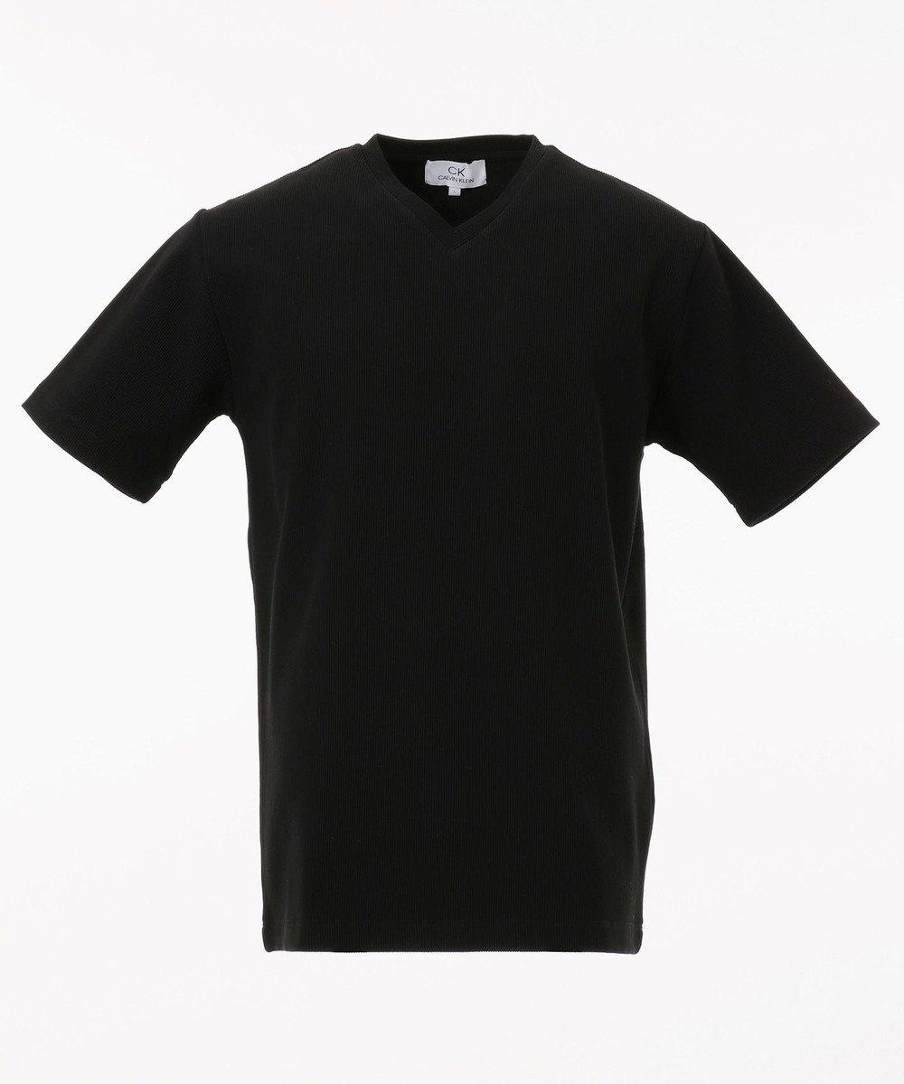 CK CALVIN KLEIN MEN 【定番】リップルグログランストライプ Tシャツ ブラック系