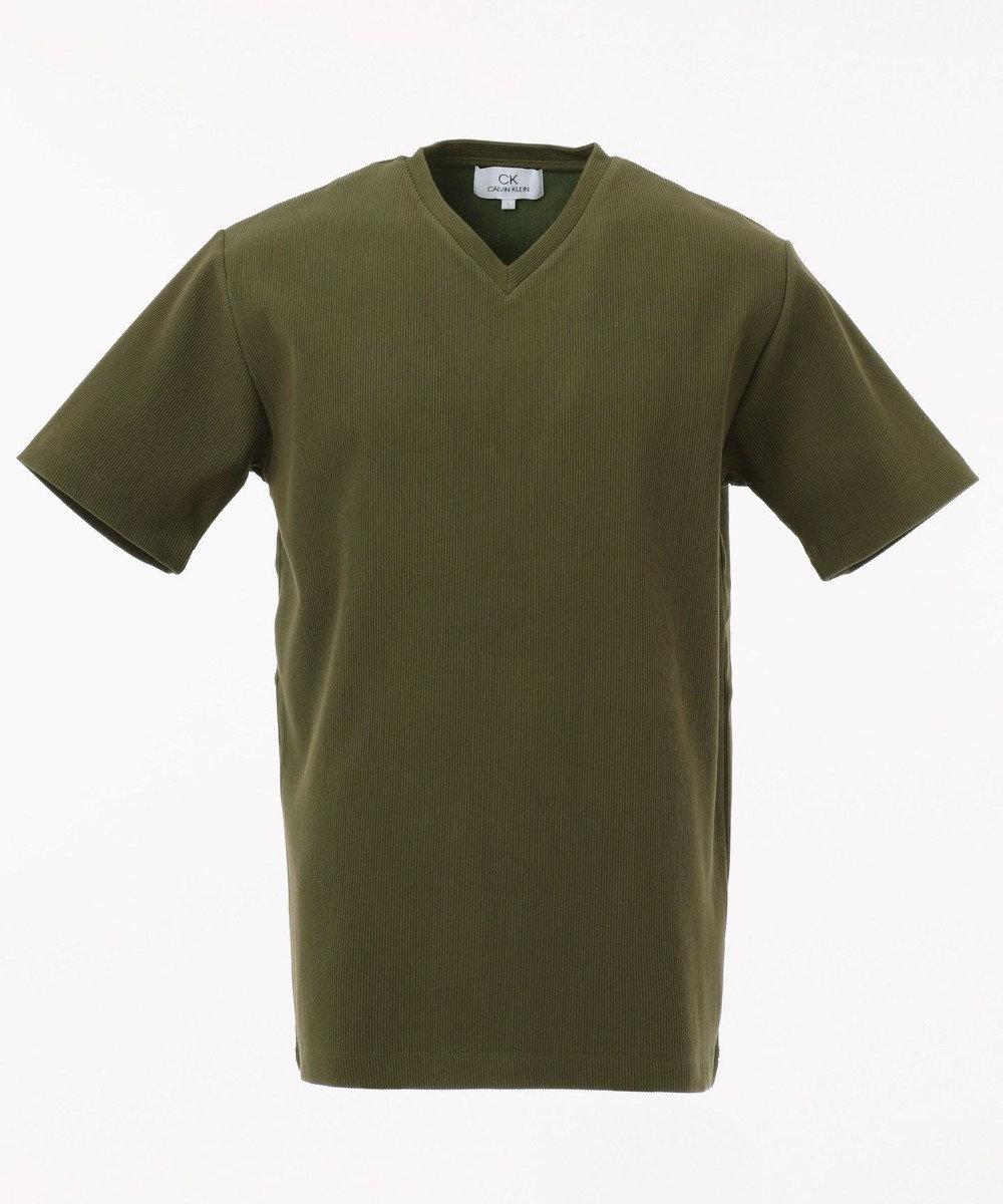 CK CALVIN KLEIN MEN 【定番】リップルグログランストライプ Tシャツ カーキ系