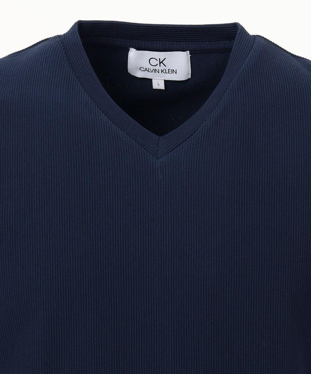CK CALVIN KLEIN MEN 【定番】リップルグログランストライプ Tシャツ ネイビー系
