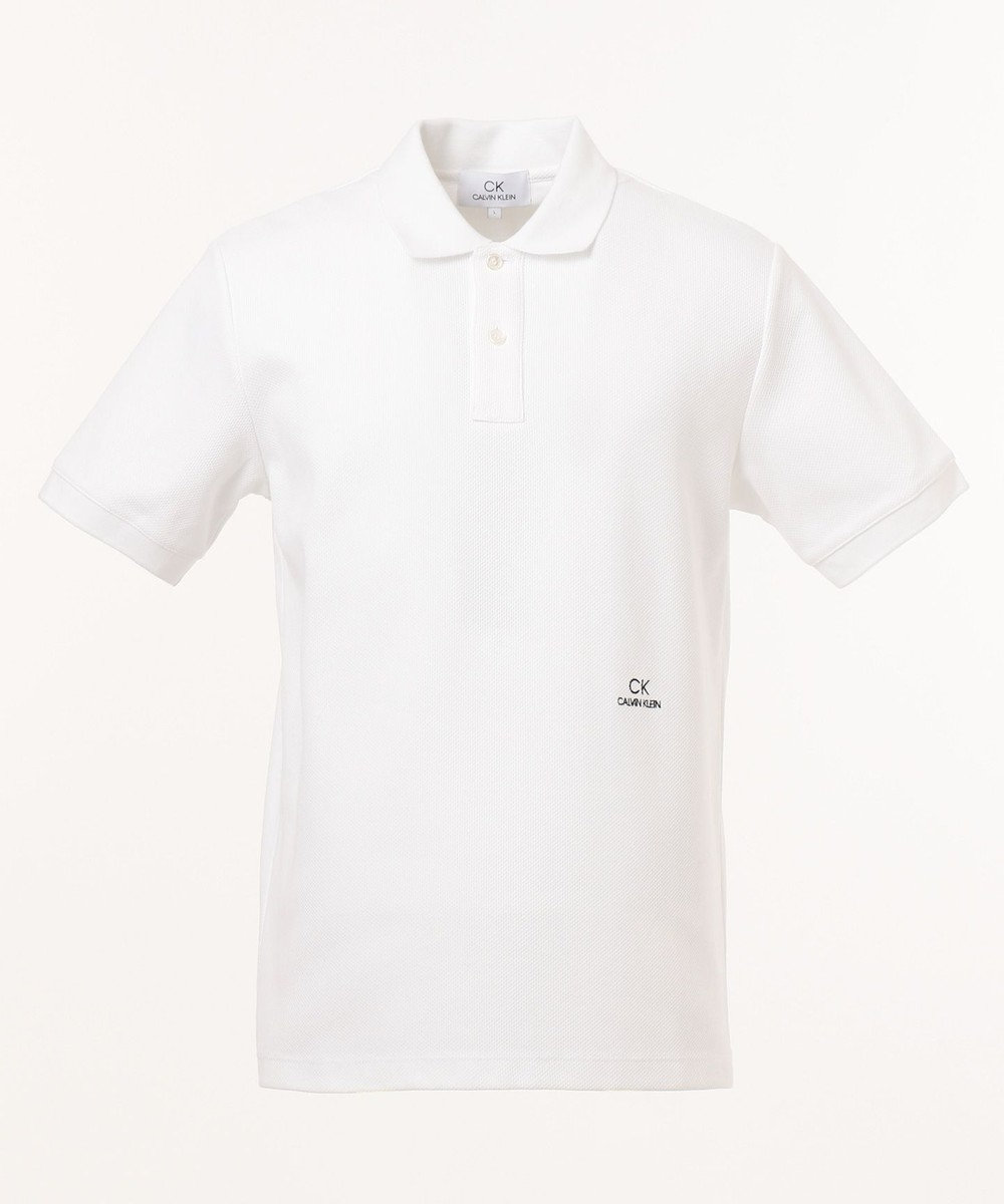CK CALVIN KLEIN MEN 【ロゴ入り】シャンブレーメッシュチャンキーピケ ポロシャツ ホワイト系