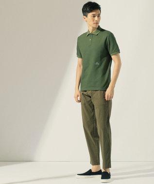 CK CALVIN KLEIN MEN 【ロゴ入り】シャンブレーメッシュチャンキーピケ ポロシャツ カーキ系