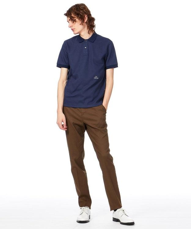 CK CALVIN KLEIN MEN 【ロゴ入り】シャンブレーメッシュチャンキーピケ ポロシャツ
