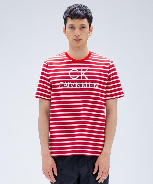 CK CALVIN KLEIN MEN 【2018AW】EMBロゴボーダー Tシャツ