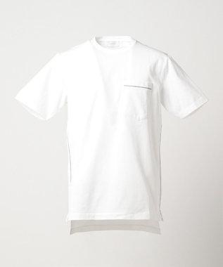 CK CALVIN KLEIN MEN EMBラインパラレルドジャージー Tシャツ ホワイト系