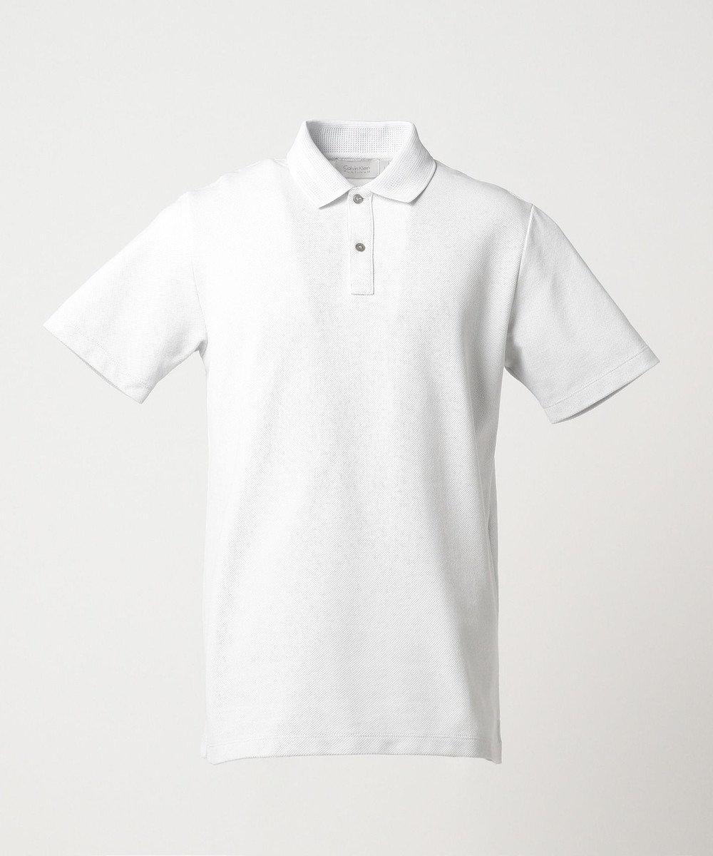 CK CALVIN KLEIN MEN 【夏のおすすめポロシャツ】シャンブレーメッシュピケ ポロシャツ ホワイト系