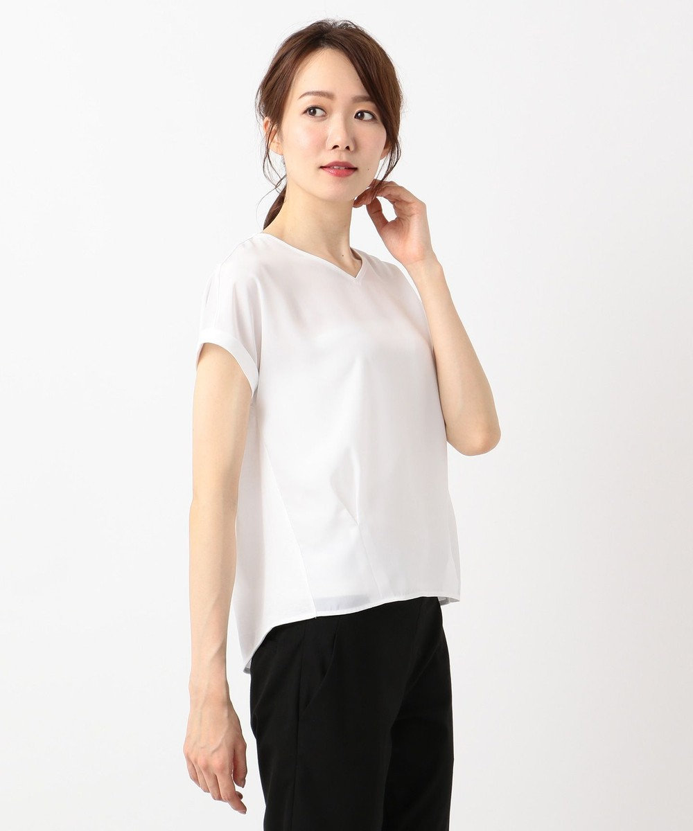 ICB 【洗える】Crossed Stripe 半袖カットソー ホワイト系