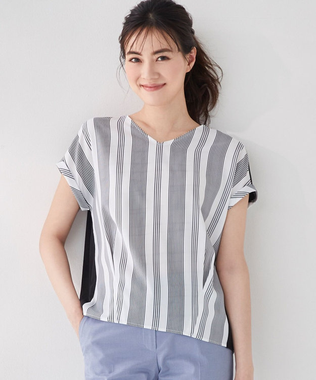 ICB 【洗える】Crossed Stripe 半袖カットソー