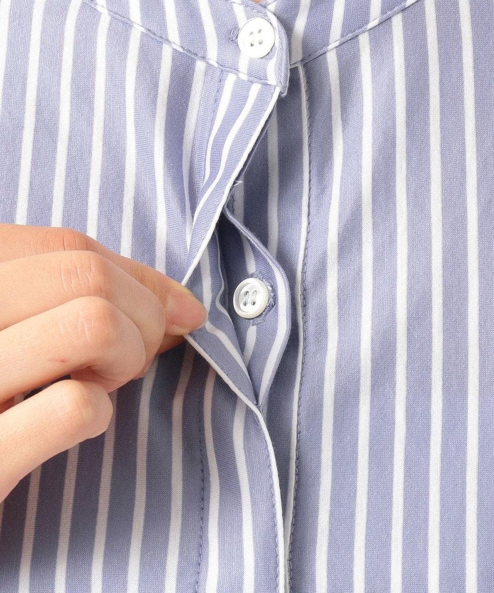 ICB 【洗える】Royal Cool ノーカラー シャツ ブルー×ホワイト系