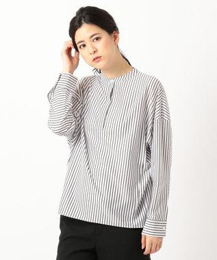 ICB 【洗える】Royal Cool ノーカラー シャツ ホワイト×グレー系