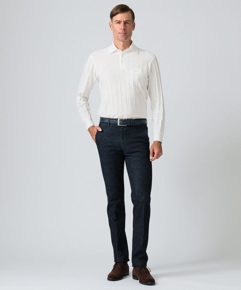 DAKS 【125周年】シャドーチェック クルーズ ポロシャツ ホワイト系
