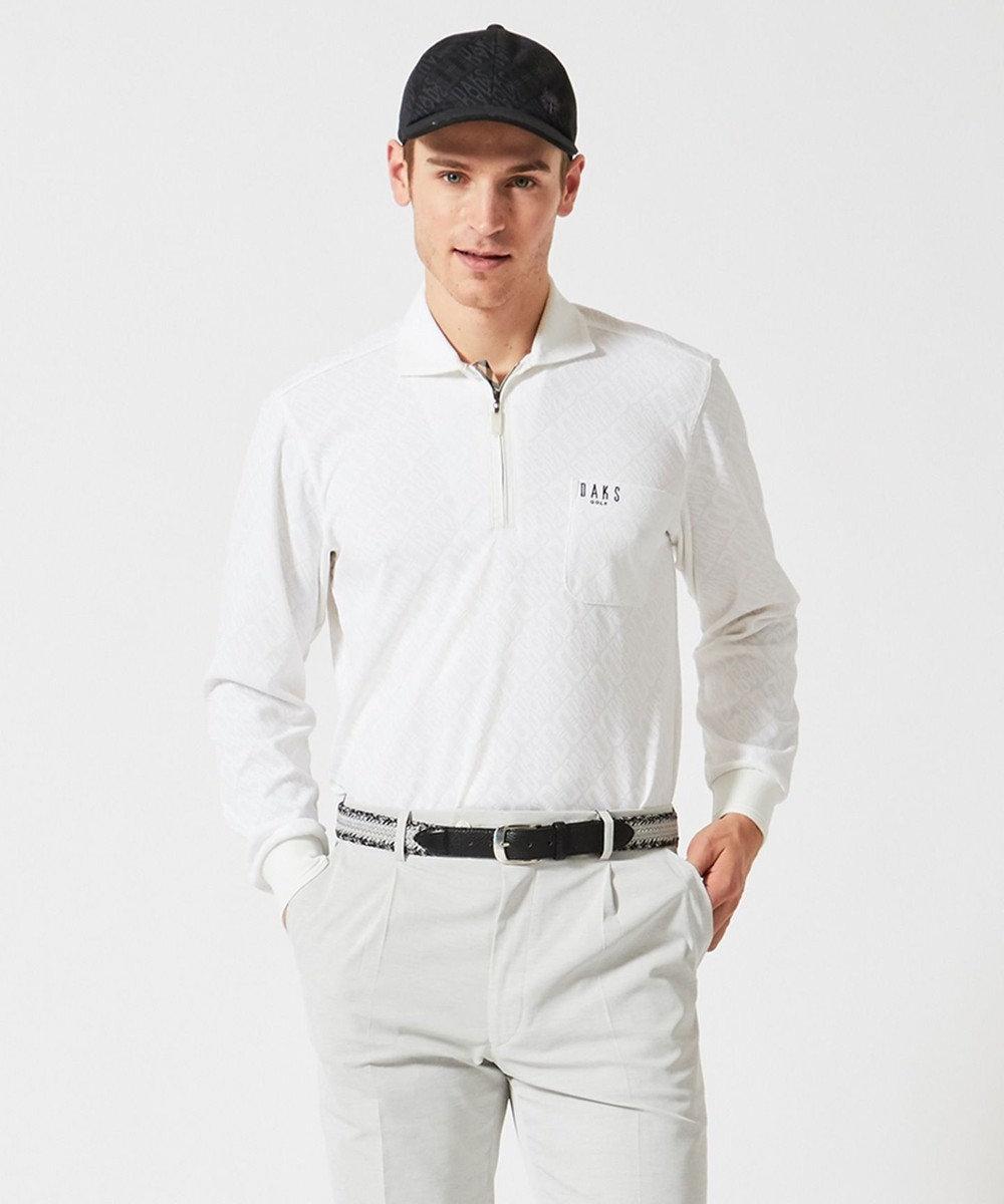 DAKS GOLF 【MEN】DAKSバイアスロゴ 長袖ポロシャツ ホワイト系