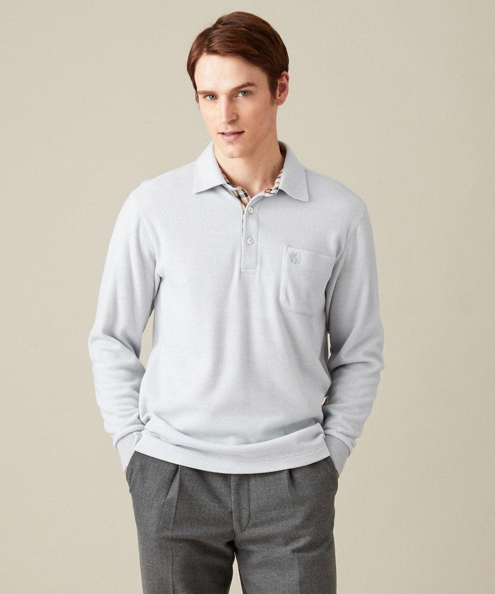 DAKS GOLF 【MEN】ウォームビックへリンボーン  ポロシャツ アイボリー系