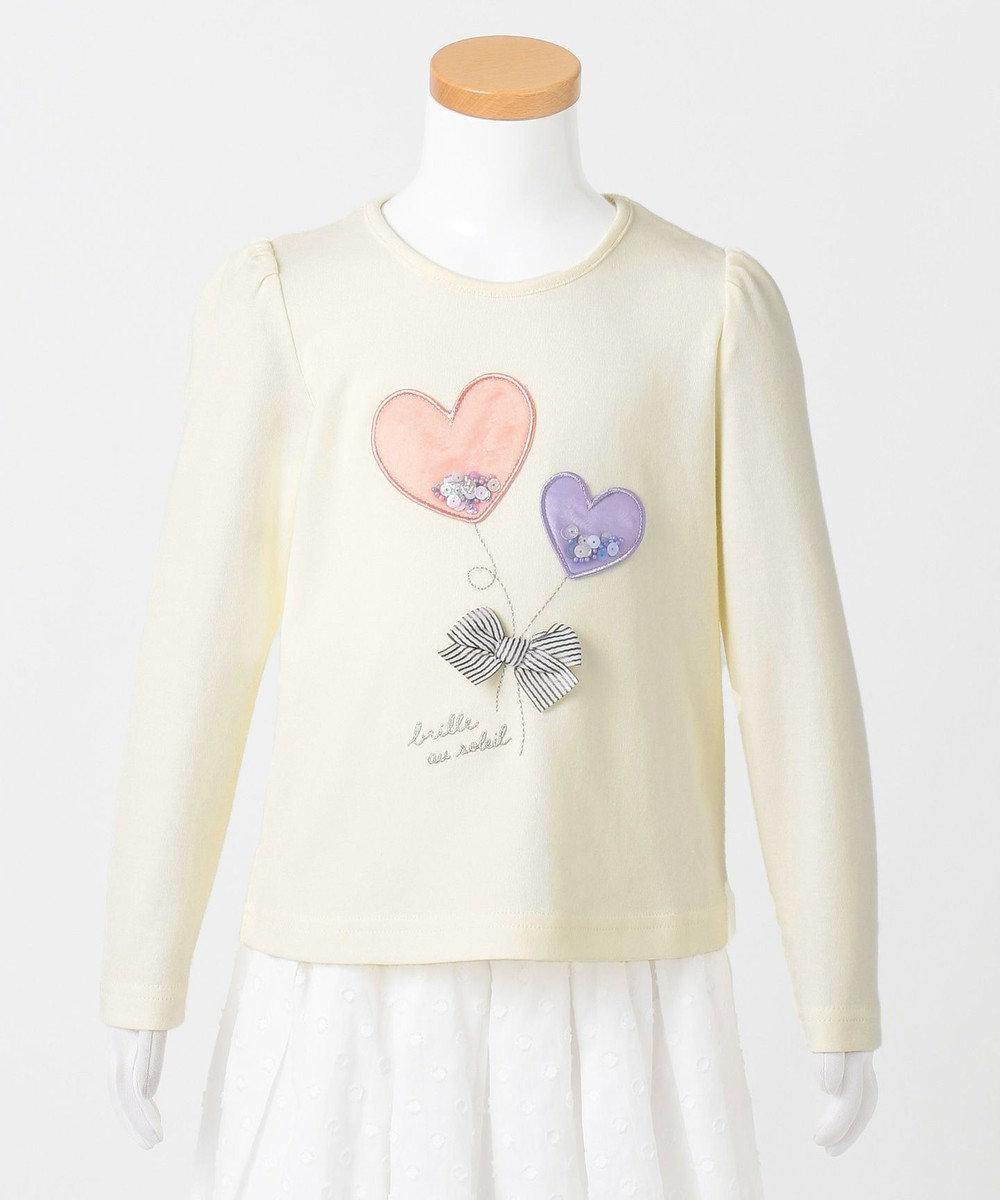 any FAM KIDS 【90-130cm】ビーズ入り風船モチーフ 長袖Tシャツ アイボリー系