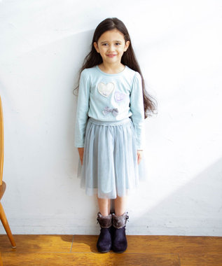 any FAM KIDS 【90-130cm】ビーズ入り風船モチーフ 長袖Tシャツ ライトグリーン系