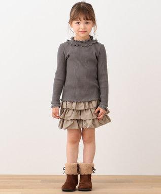 any FAM KIDS 【90-130cm】シャーリング 長袖トップス ココア