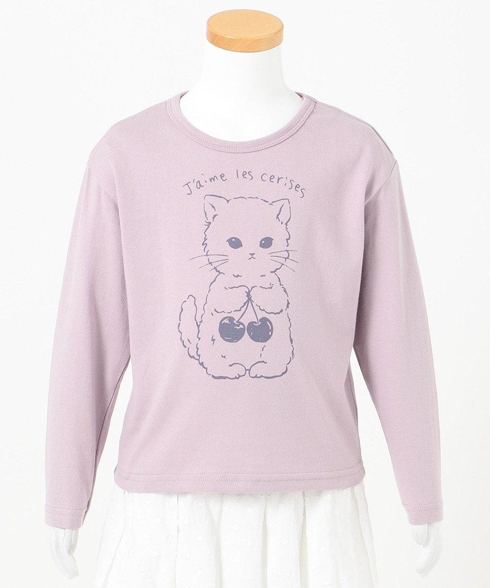 any FAM KIDS 【90-130cm】オーガビッツ 長袖Tシャツ ラベンダー(ネコ)