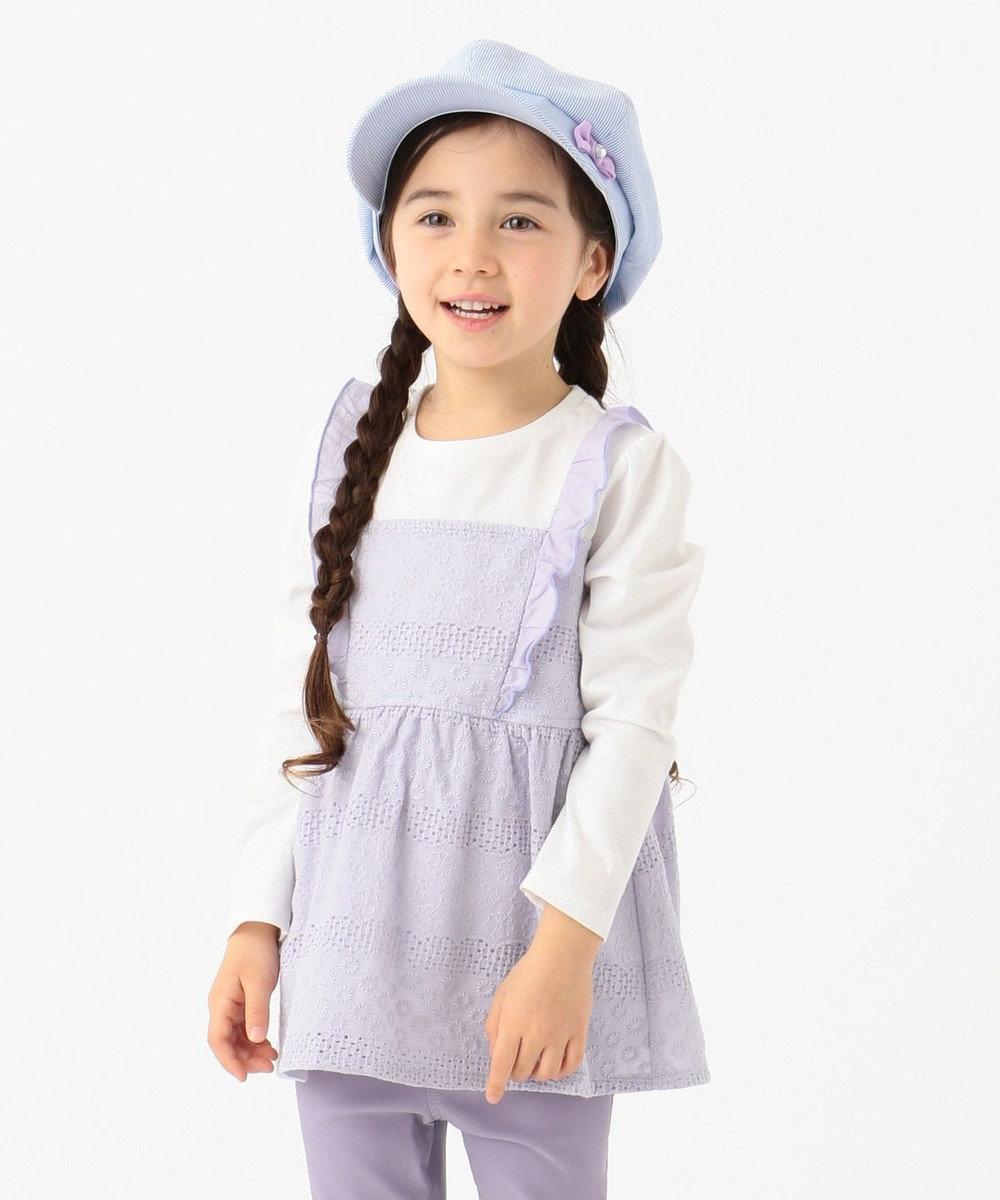 any FAM KIDS 【90-130cm】レースキャミソールドッキング 長袖Tシャツ ホワイト系