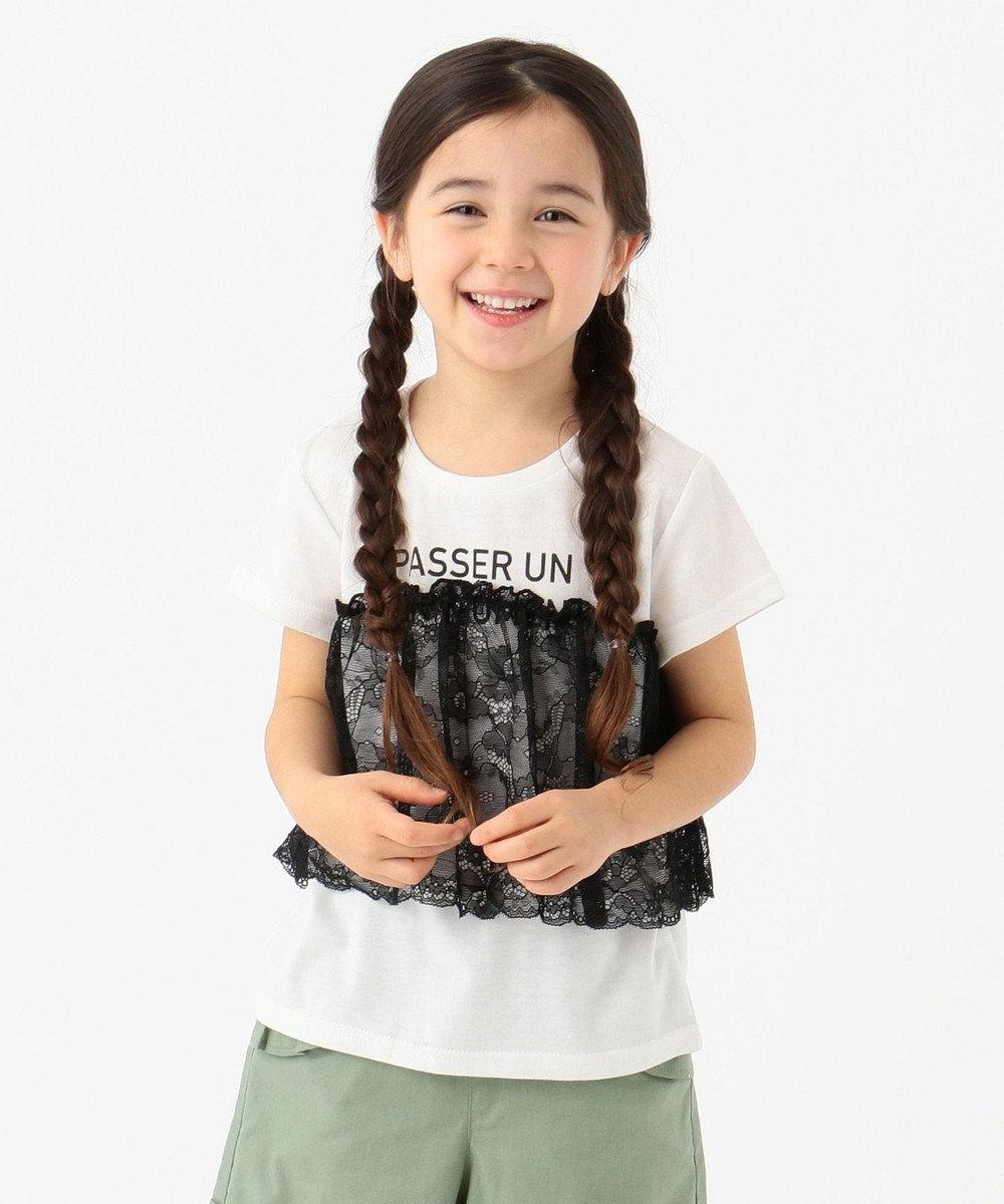 any FAM KIDS 【80-130cm】ロゴ文字入り ドッキングTシャツ ホワイト系