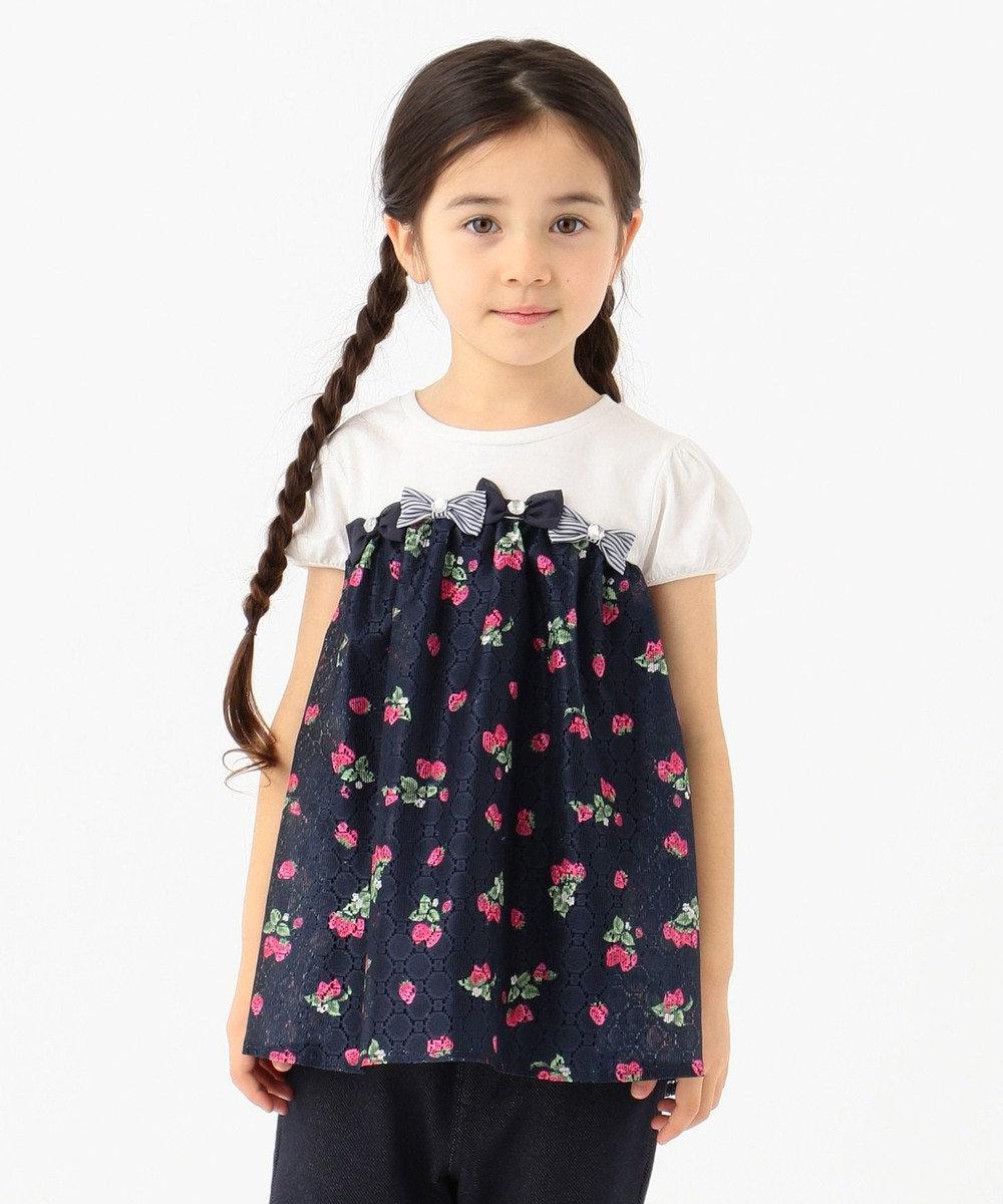 any FAM KIDS 【90-130cm】いちごプリントドッキング Tシャツ ネイビー系5