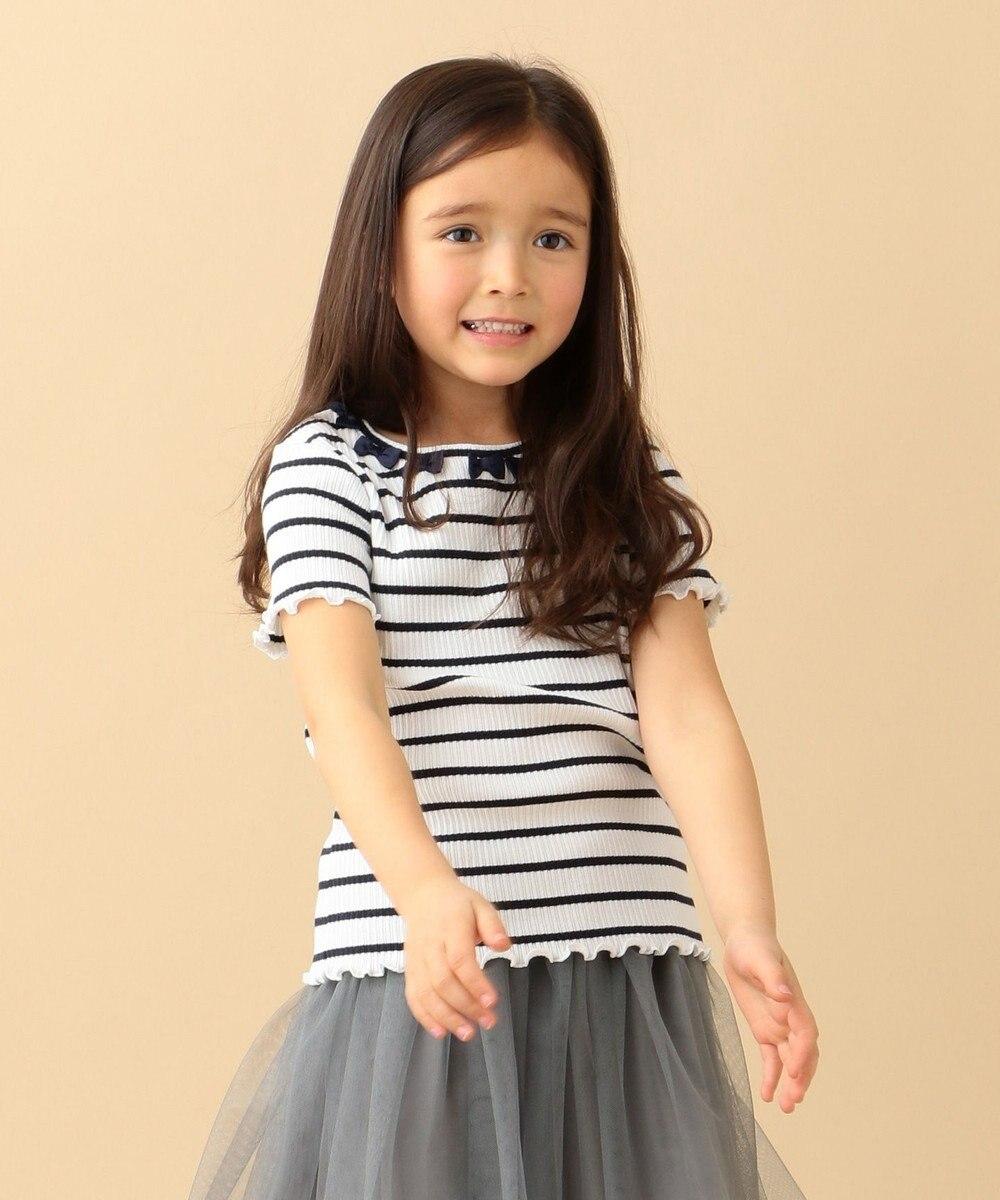 any FAM KIDS ニコプチ4月号掲載【90-130cm】リボンモチーフ 半袖Tシャツ ネイビー系1