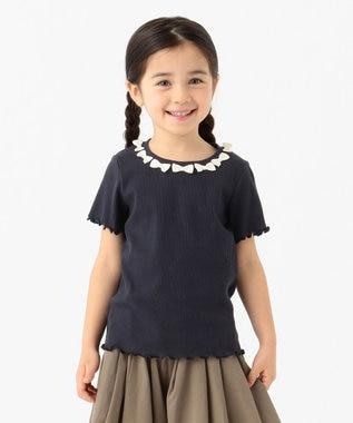 any FAM KIDS ニコプチ4月号掲載【90-130cm】リボンモチーフ 半袖Tシャツ ネイビー系