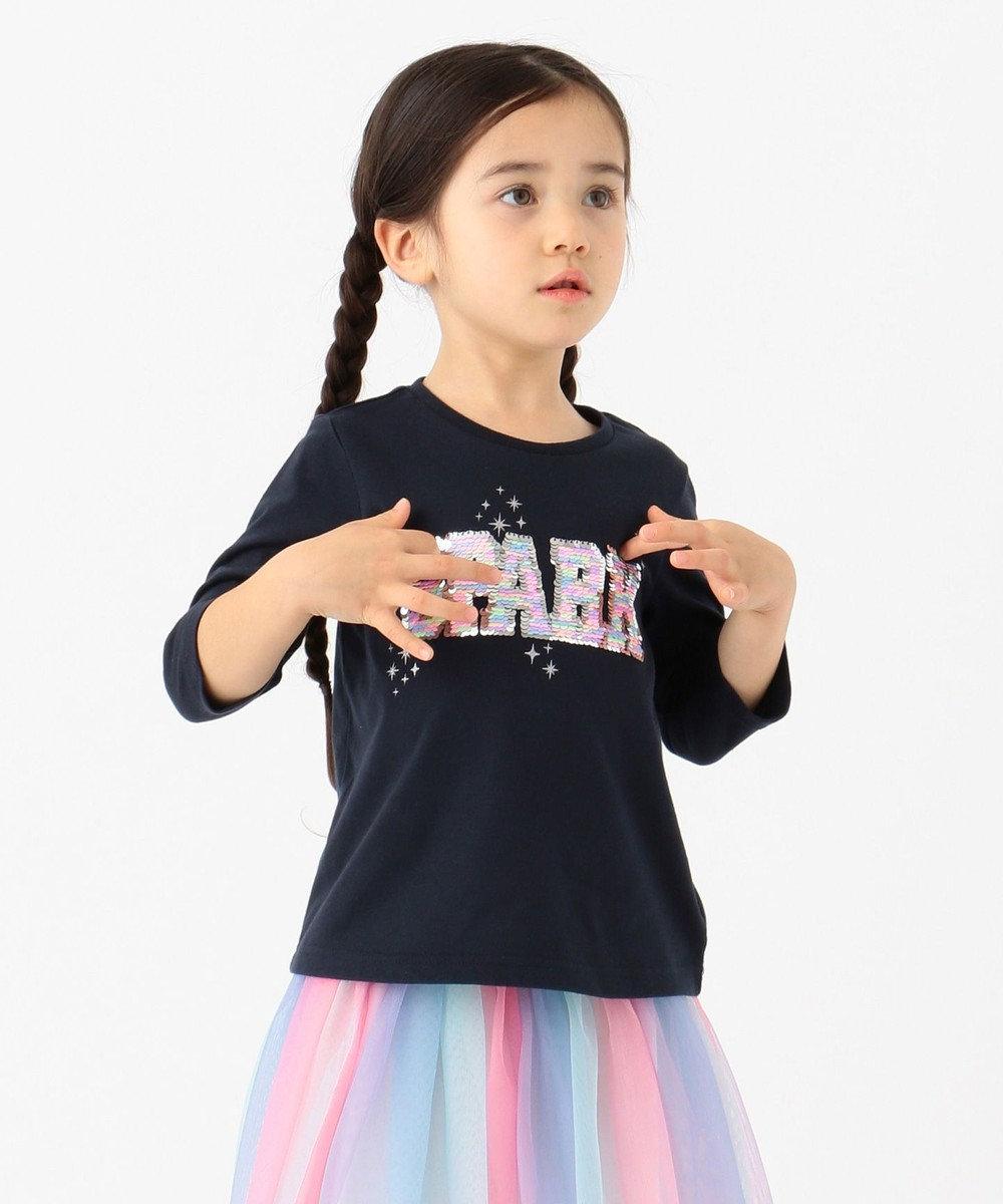 any FAM KIDS 【100-130cm】ミラクルスパンコール 7分袖Tシャツ ネイビー系