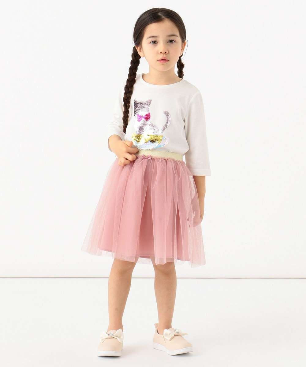 any FAM KIDS 【100-130cm】ミラクルスパンコール 7分袖Tシャツ ホワイト系
