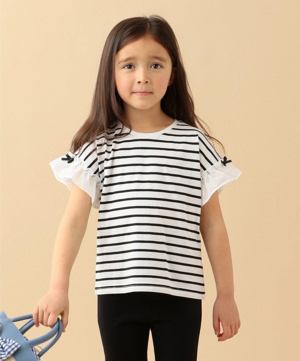 any FAM KIDS 【80-130cm】ボーダー袖フリルTシャツ ブラック系1