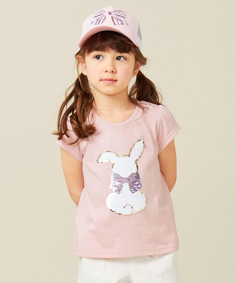 any FAM KIDS 【100-130cm】ミラクルスパンコール 半袖Tシャツ ピンク系