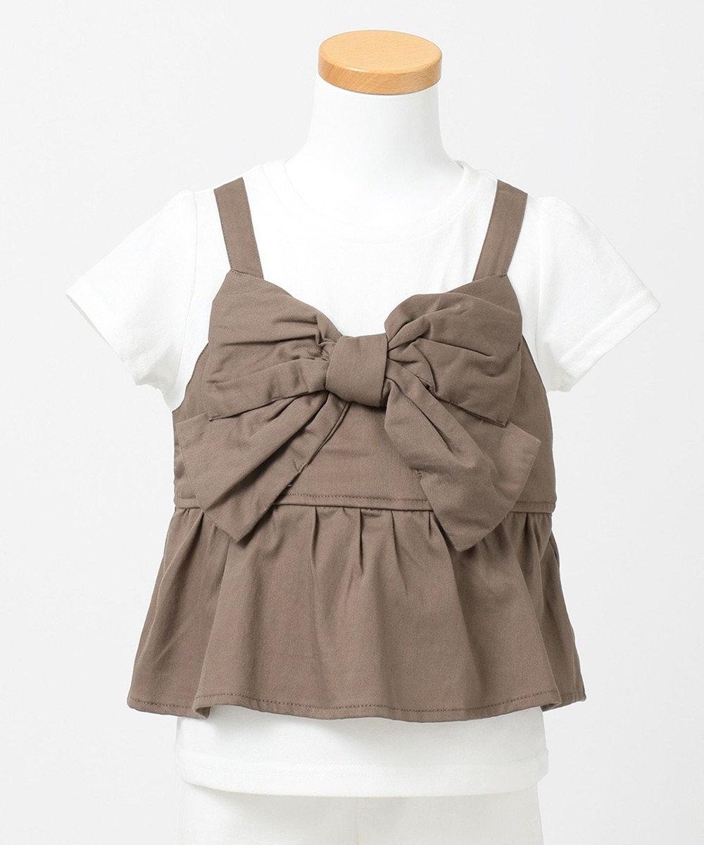 any FAM KIDS 【90‐130cm】ビックリボン ドッキングTシャツ ベージュ系