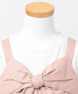 any FAM KIDS 【90‐130cm】ビックリボン ドッキングTシャツ ピンク系