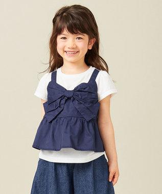 any FAM KIDS 【90‐130cm】ビックリボン ドッキングTシャツ ネイビー系