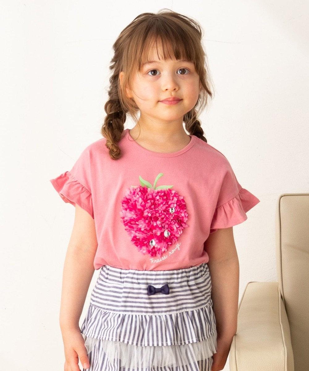 any FAM KIDS 【90‐130cm/接触冷感】フリル刺繍フルーツ Tシャツ ピンク系
