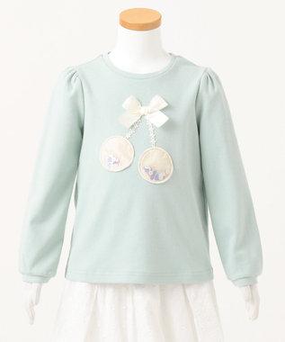 any FAM KIDS 【80-130cm】チェリーアップリケ プルオーバー ライトグリーン系