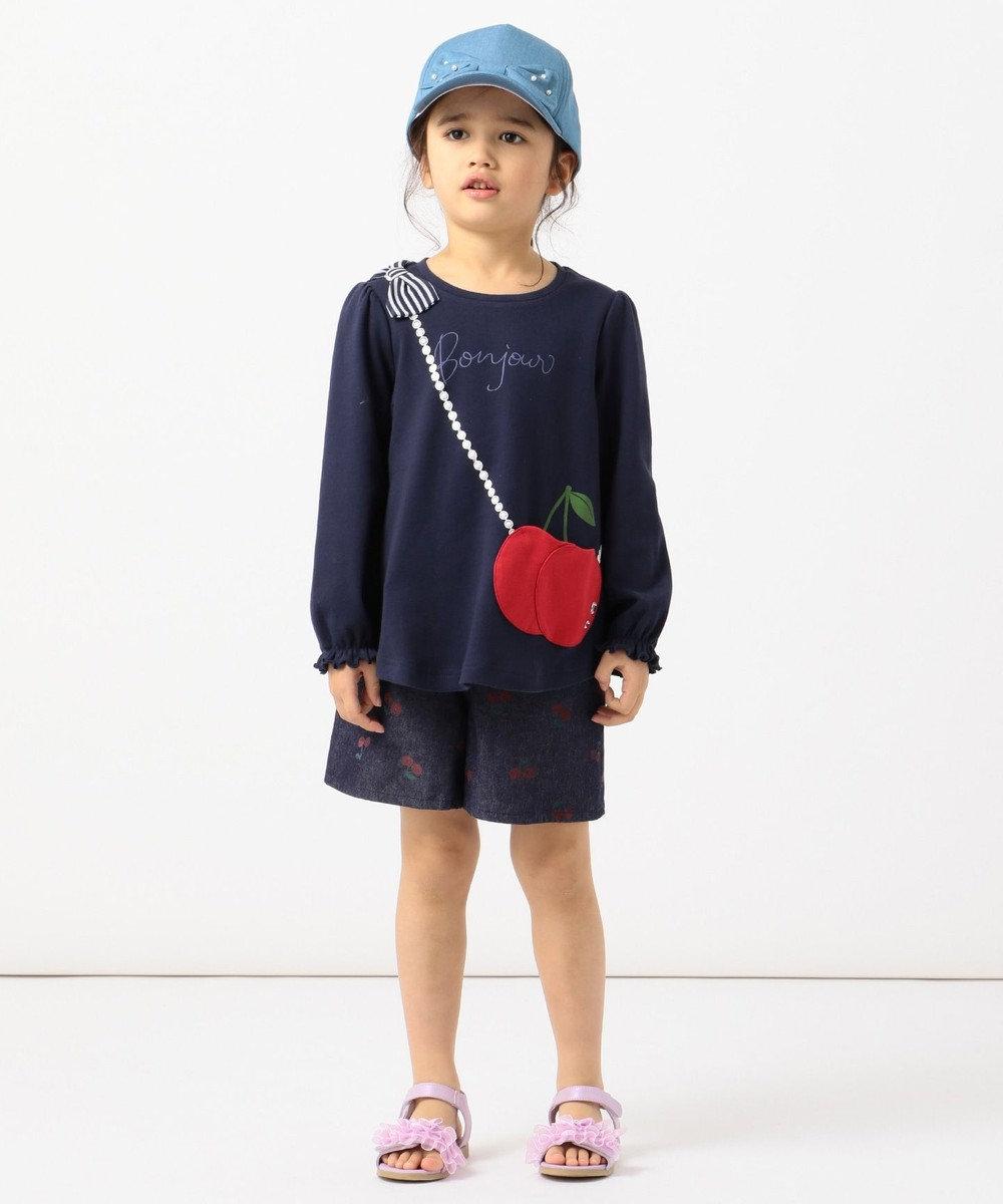 any FAM KIDS 【80-130cm】チェリーポシェットカットソー ネイビー系