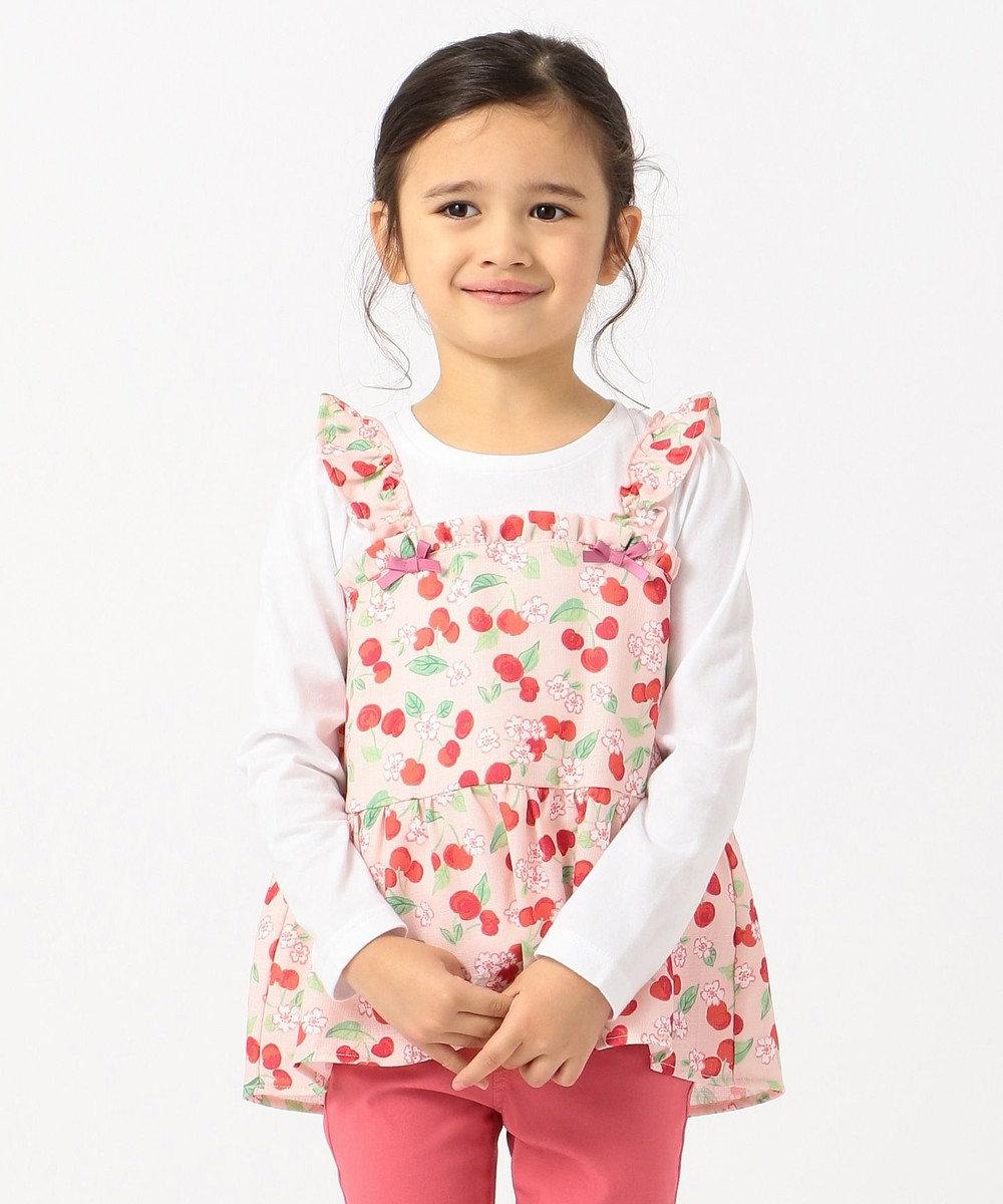 any FAM KIDS 【姉妹でお揃い/90-130cm】チェリー×花柄 ドッキングTシャツ ピンク系5