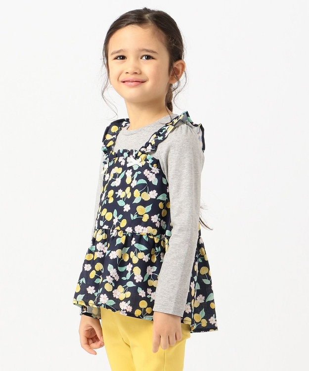 any FAM KIDS 【姉妹でお揃い/90-130cm】チェリー×花柄 ドッキングTシャツ