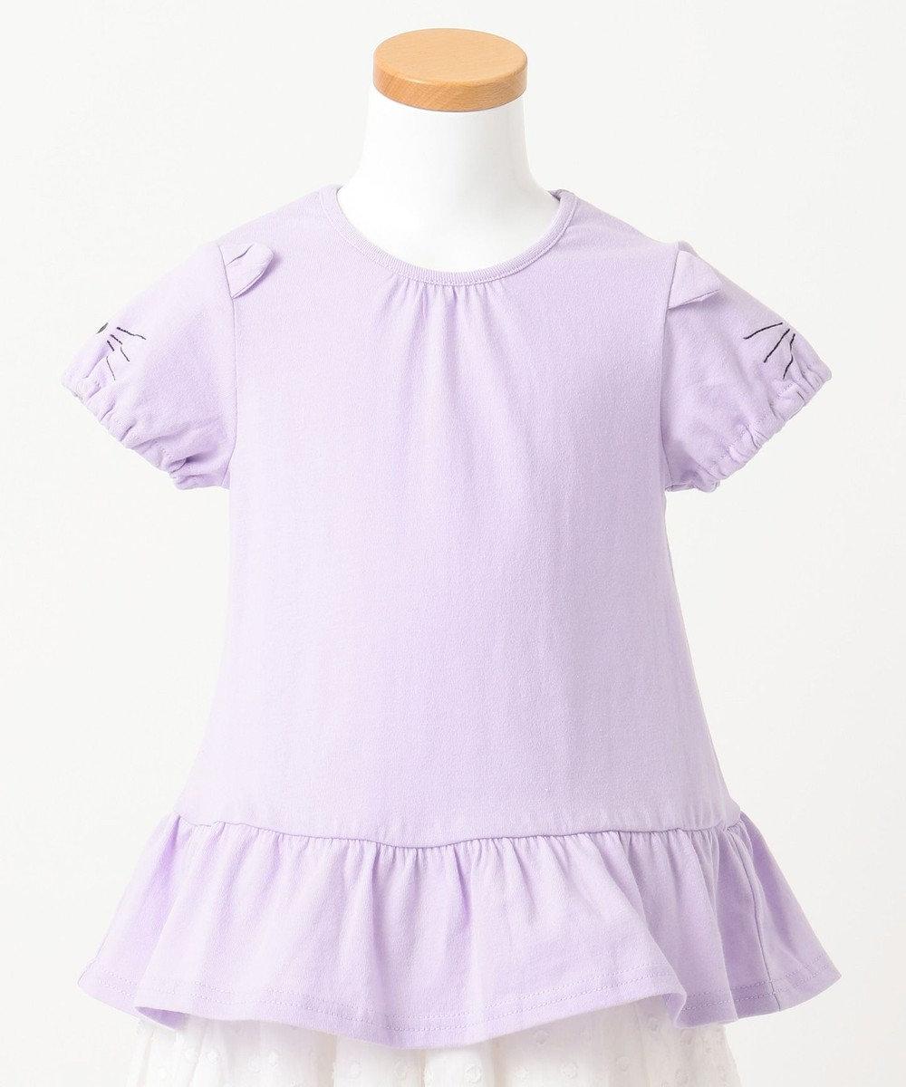 any FAM KIDS 【KIDS】ぺプラム ねこ袖 Tシャツ ふじ色系
