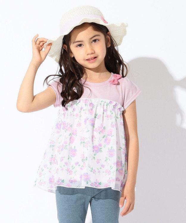 any FAM KIDS 【KIDS】シフォン花柄プリント 接触冷感 Tシャツ