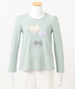 any FAM KIDS 【140-150cm】ビーズ入り風船モチーフ 長袖Tシャツ ライトグリーン系