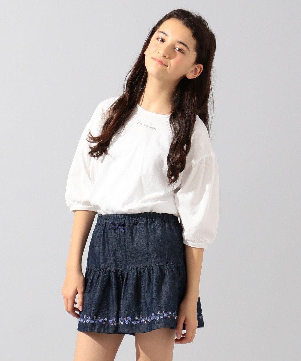 any FAM KIDS 【140‐150cm】バッグリボン 7分袖Tシャツ ホワイト系