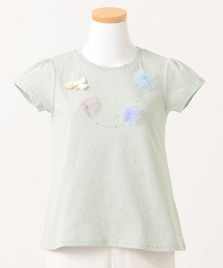 any FAM KIDS 【140-150cm】ネックレス風モチーフ 半袖Tシャツ ライトグリーン系