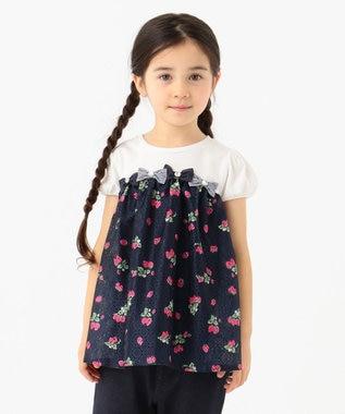 any FAM KIDS 【140cm】いちごプリントドッキング Tシャツ ネイビー系5