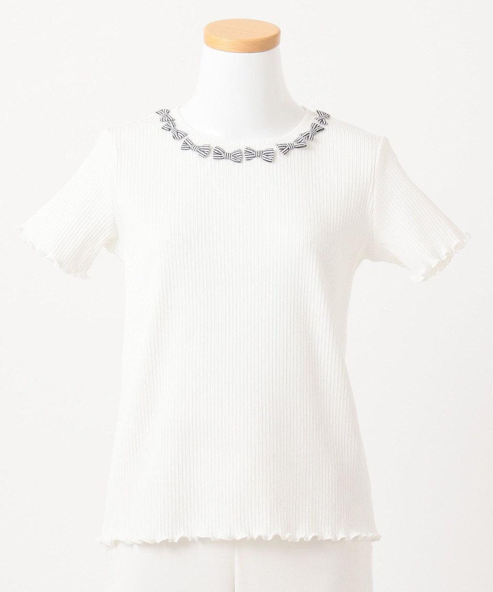 any FAM KIDS ニコプチ4月号掲載【140-150cm】リボンモチーフ 半袖Tシャツ ホワイト系