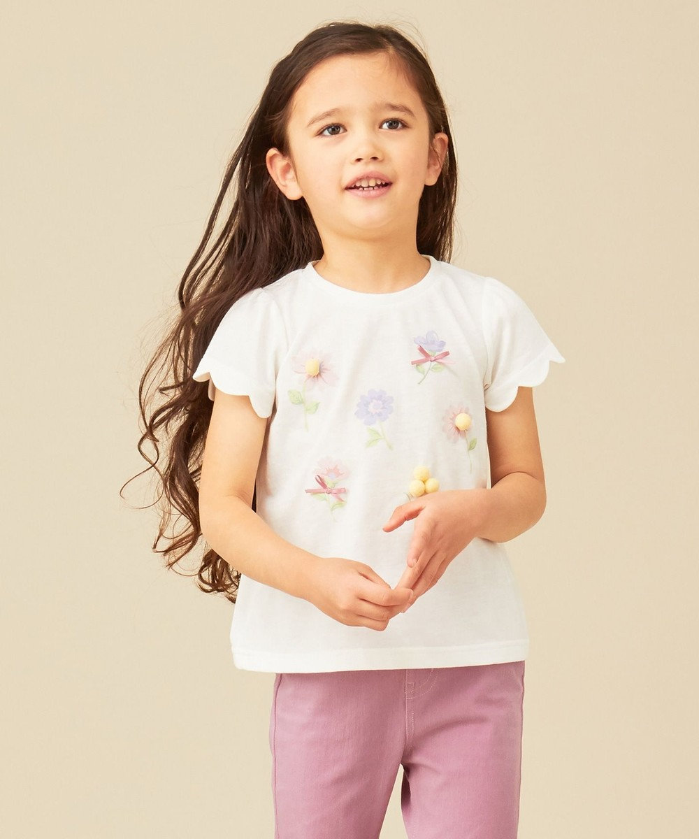 any FAM KIDS 【140‐150cm】ポンポン付きお花 半袖Tシャツ ホワイト系