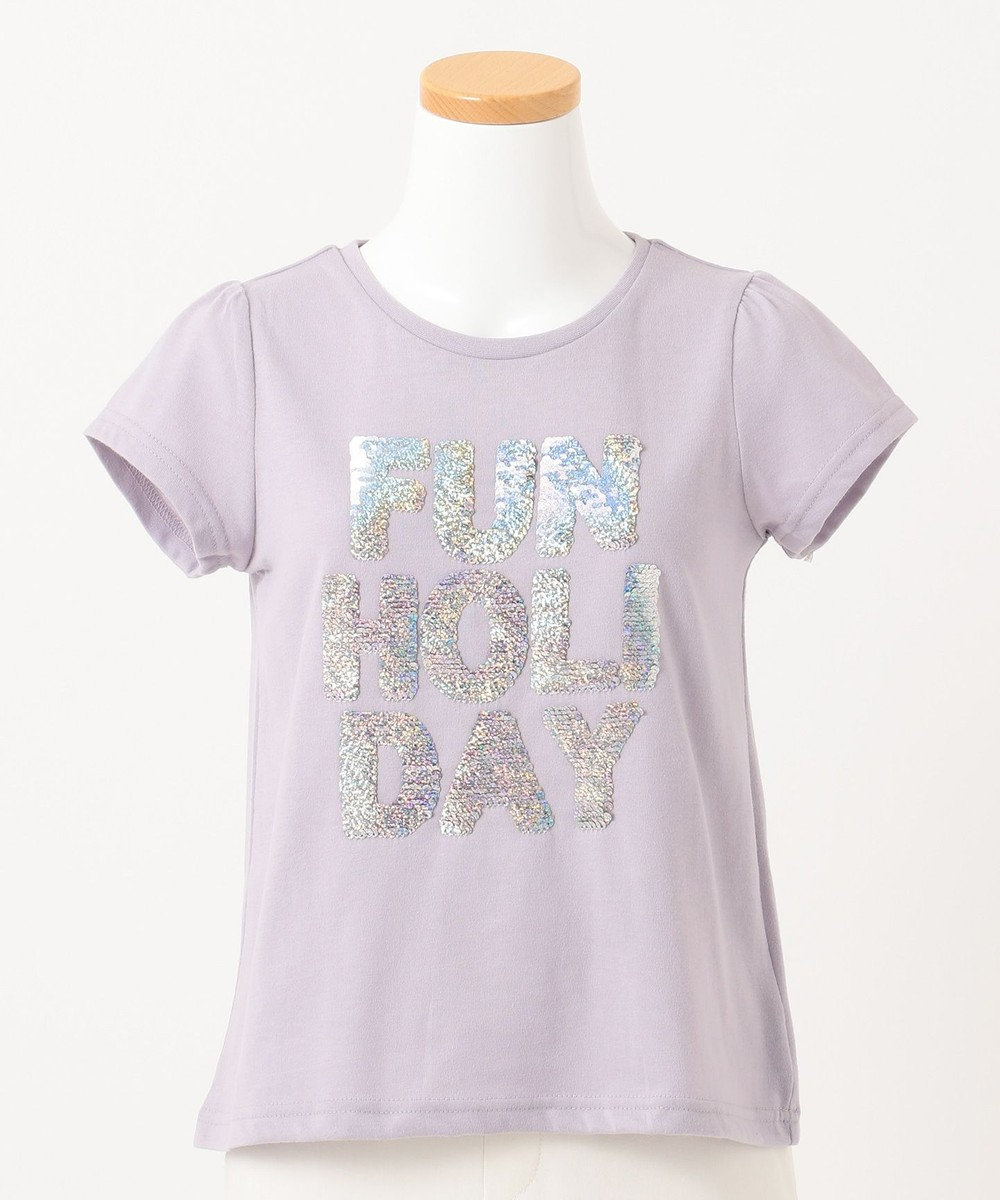 any FAM KIDS 【140-150cm】ミラクルスパンコール 半袖Tシャツ ライラック系