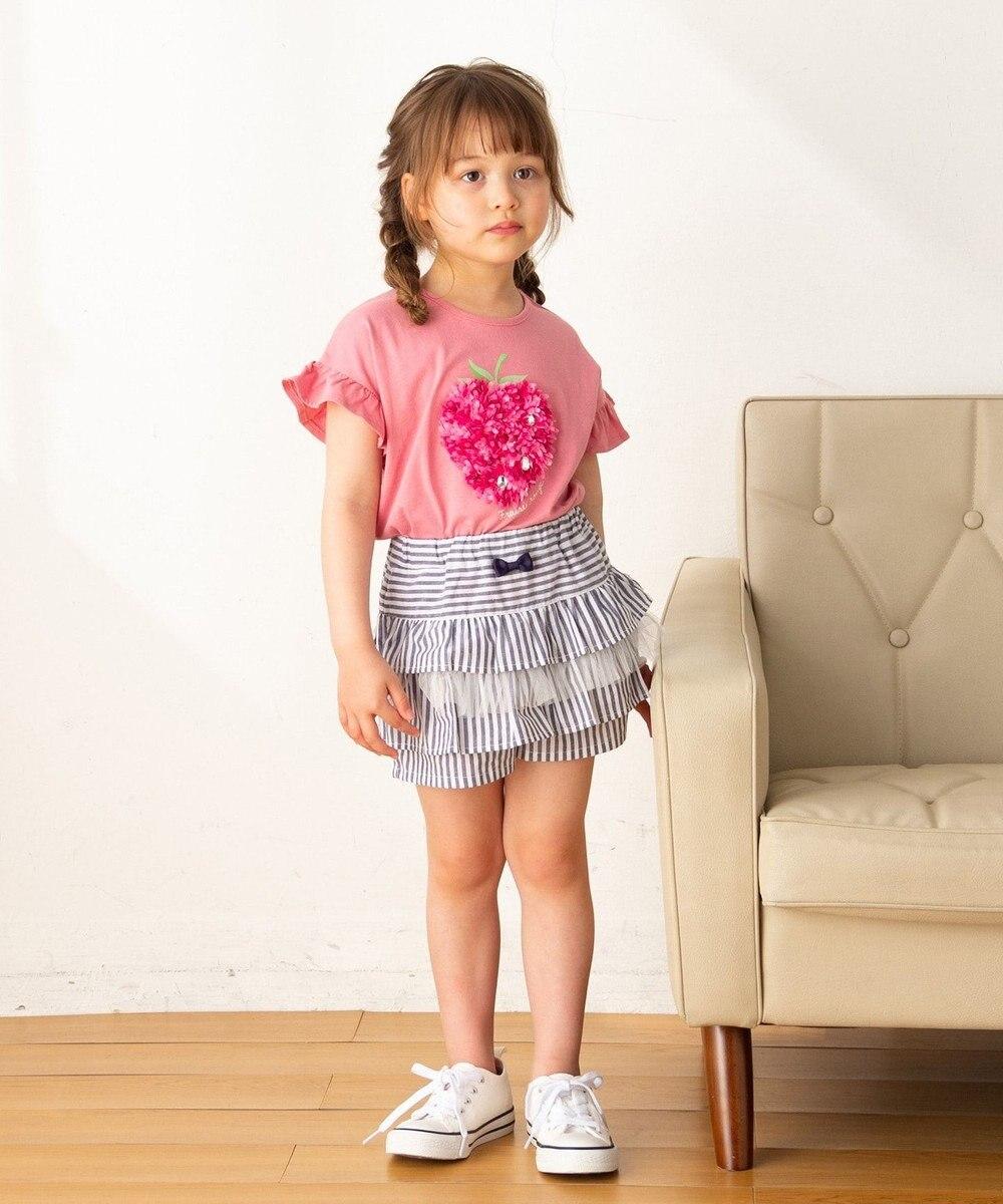 any FAM KIDS 【140‐150cm/接触冷感】フリル刺繍フルーツ Tシャツ ピンク系