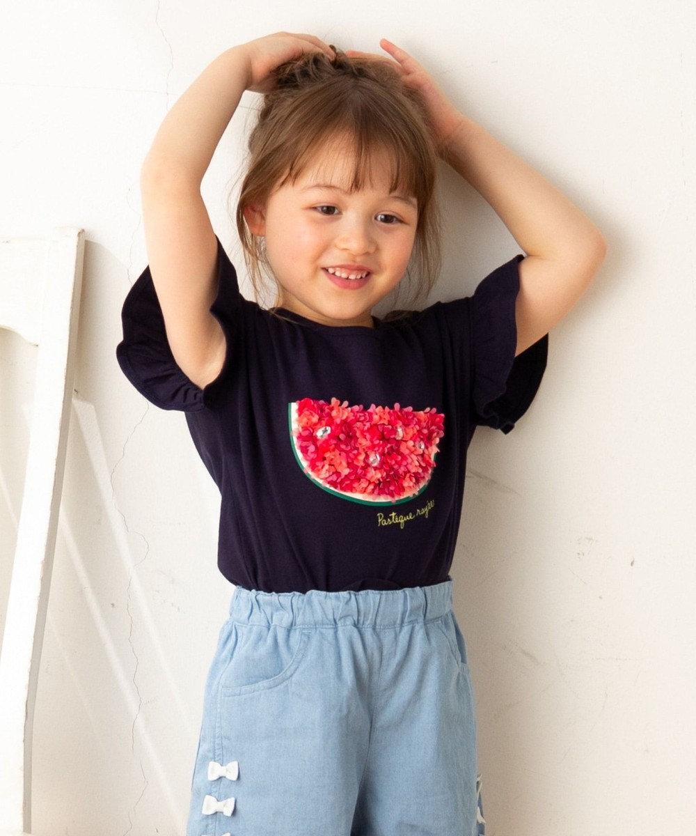 any FAM KIDS 【140‐150cm/接触冷感】フリル刺繍フルーツ Tシャツ ネイビー系