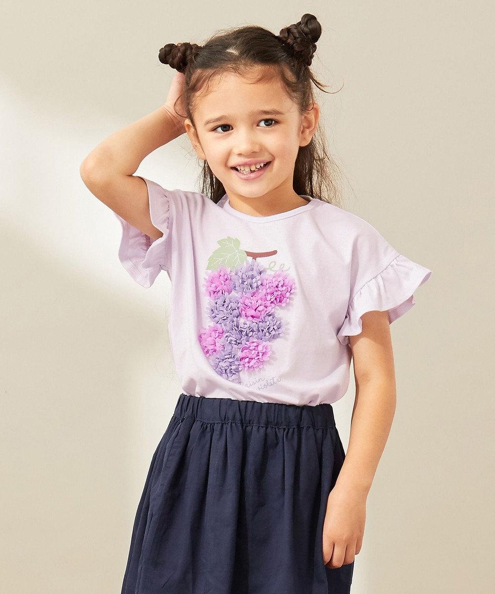 any FAM KIDS 【140‐150cm/接触冷感】フリル刺繍フルーツ Tシャツ ライラック系