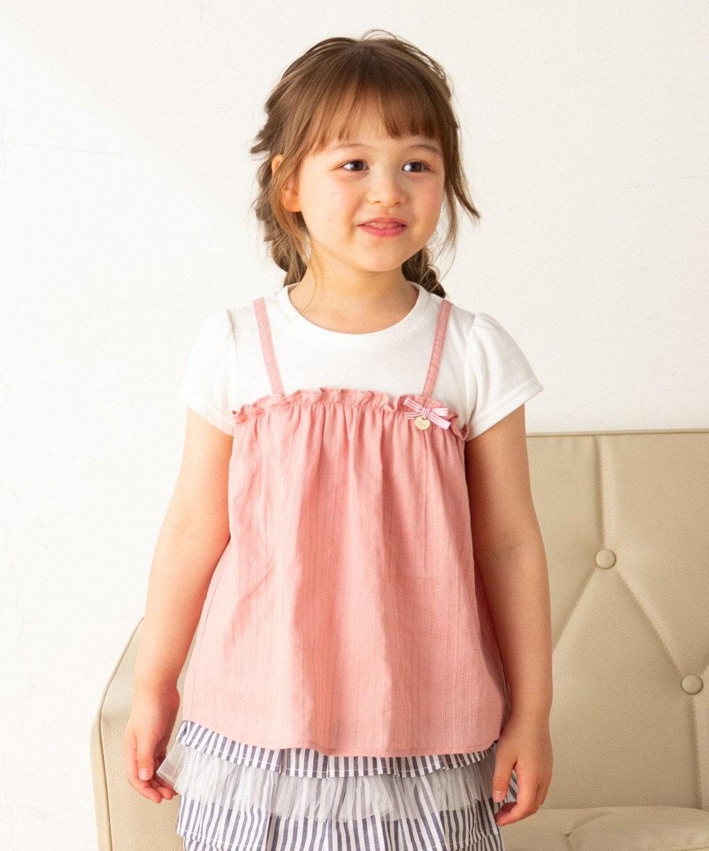 any FAM KIDS 【140-150cm】キャミソールドッキング Tシャツ ピンク系